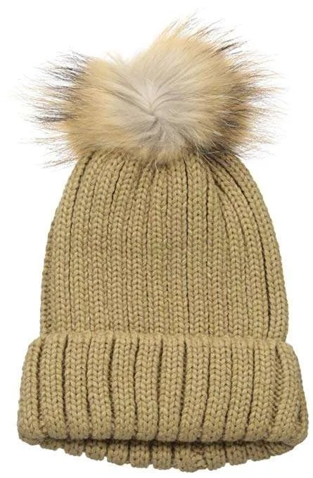 La Fiorentina Women's Knitted Hat with Raccoon Pom
