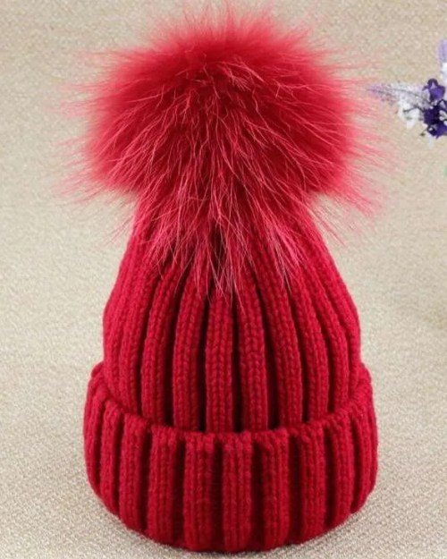 Red Plush Fox Fur Ball Pom Pom Hat