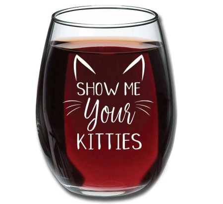 inexpensive gifts for cat lovers, Show Me Your Kitties Funny Wine Glass