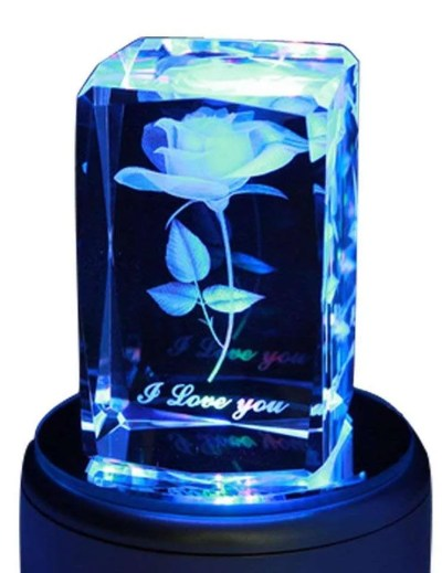 3D Rose Crystal Music Box