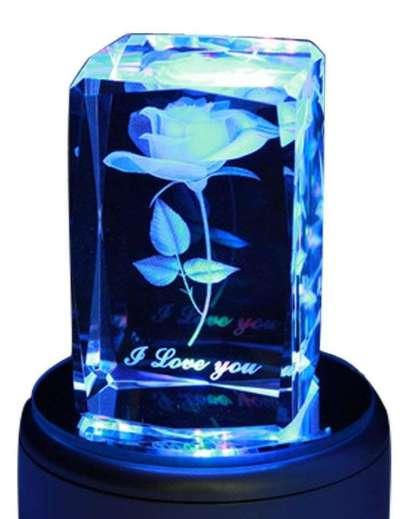 3D Rose Crystal Music Box