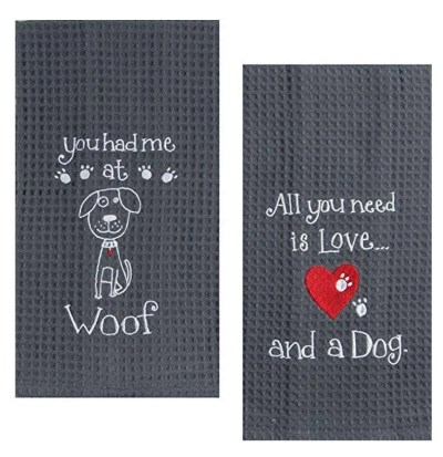 Kay Dee Dog Lover Embroidered Waffle Towel Set, unique gift for dog lovers