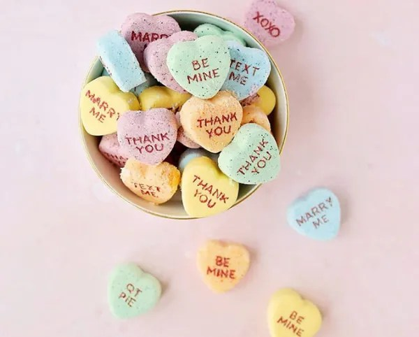 DIY Conversation Heart Valentine's Day Bath Bombs