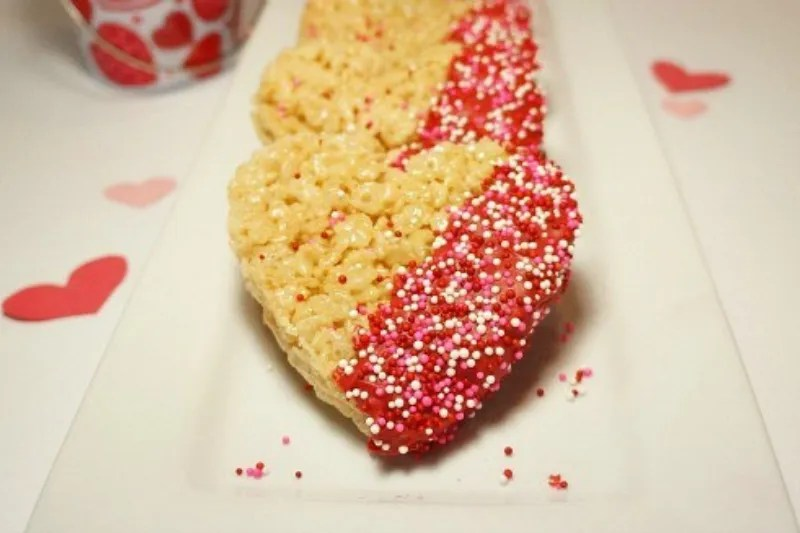 Heart Shaped Chocolate Dipped Rice Krispies Treats