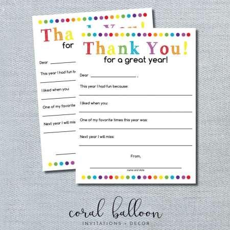 Teacher Thank You Letter