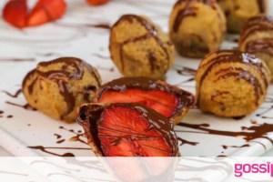 Τηγανητές φράουλες με σοκολάτα