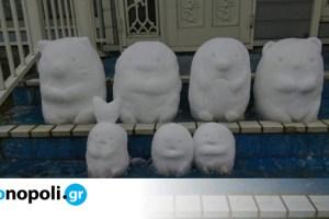 Ιάπωνας καλλιτέχνης δημιουργεί ευφάνταστα γλυπτά από…χιόνι και γίνονται viral - Monopoli.gr