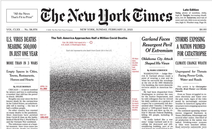 New York Times : Το πρωτοσέλιδο για τα 500.000 θύματα της πανδημίας | Ειδήσεις - νέα - Το Βήμα Online