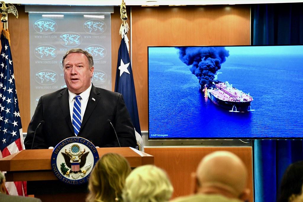 USA udenrigsminister Mike Pompeo taler til pressen om angrebet på to olietankere. Foto: Michael Gross