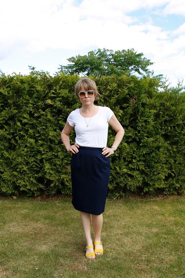 marinblå vintagekjol
