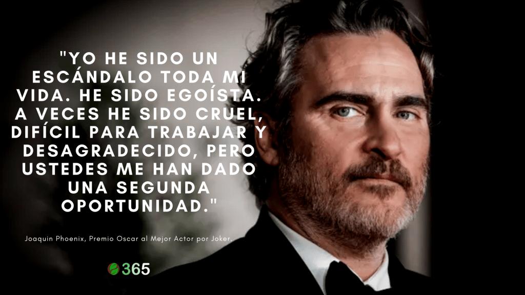 Fuerte autocrítica en el discurso de Joaquin Phoenix al recibir el Premio Oscar al Mejor Actor.