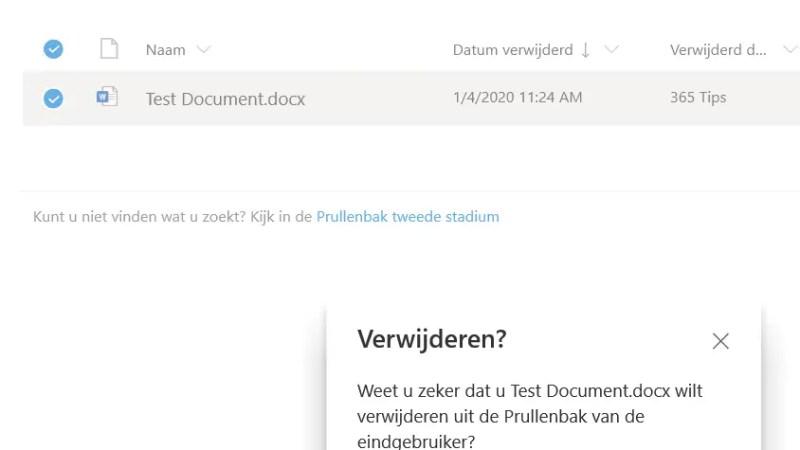 OneDrive bestand(en) verwijderd, wat nu?