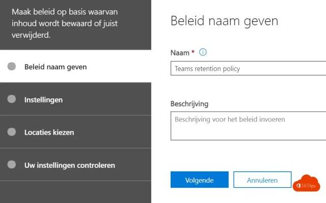 Microsoft Teams governance Beleid naam geven