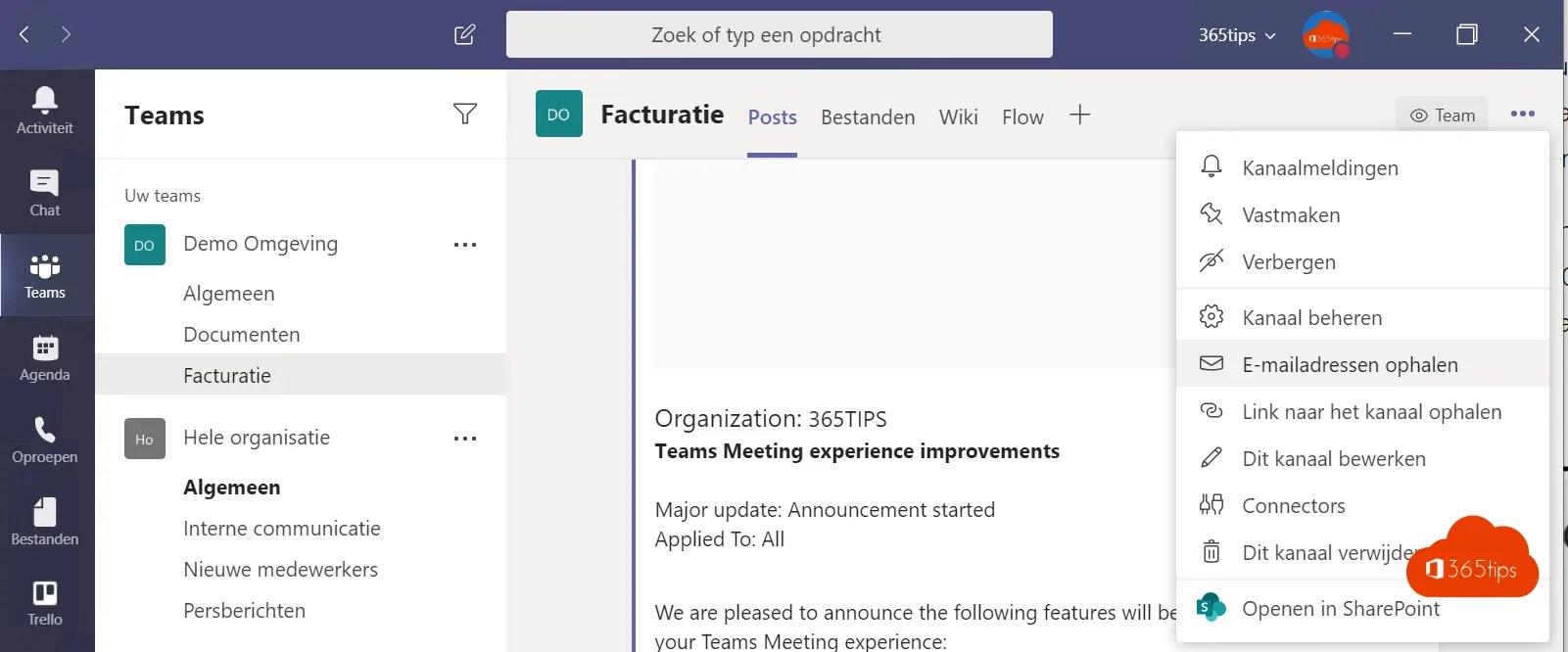 Een e-mail versturen naar een Microsoft Team