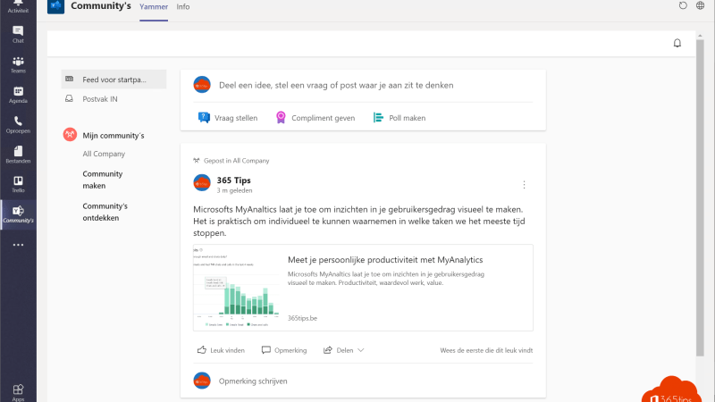 Communities Feed Yammer Teams