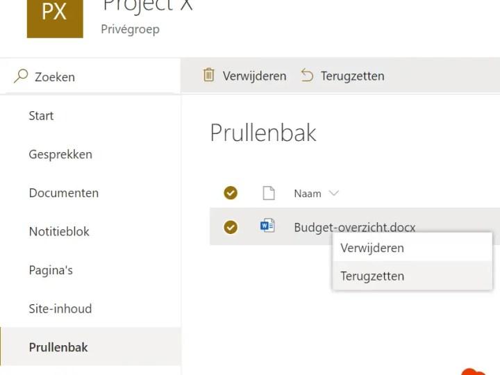 Verwijderde bestanden herstellen in Microsoft Teams of SharePoint