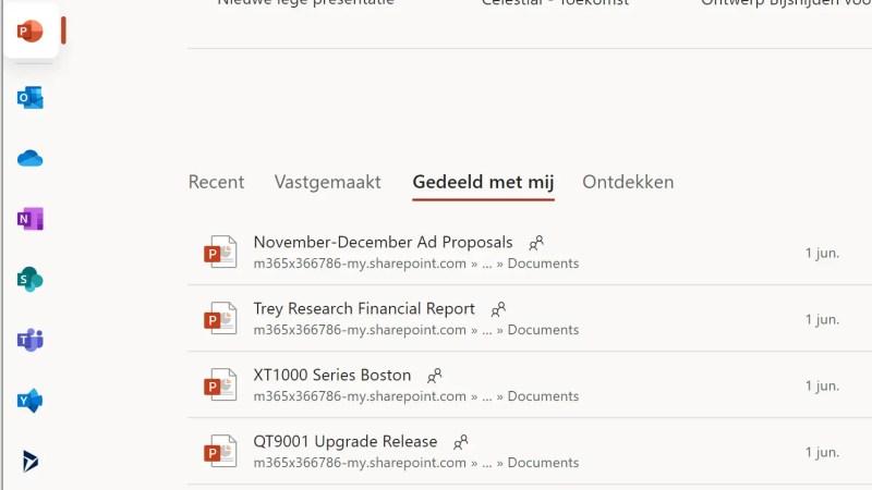 Nieuwe weergave in het Office 365 web portaal