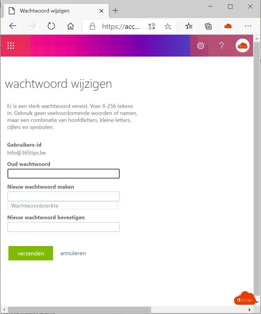 Wachtwoord resetten of aanpassen in Office 365?