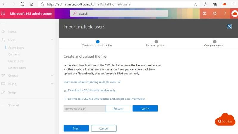 Importeer gebruikers of gasten in CSV in Office 365 of Azure AD