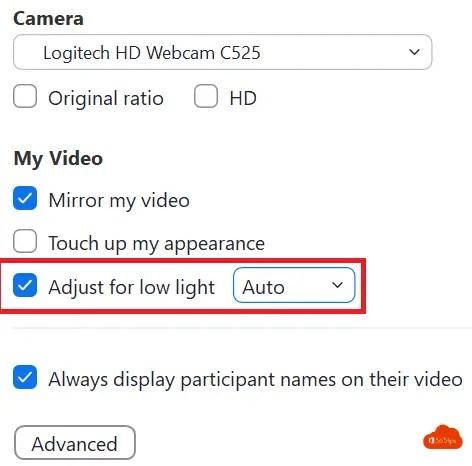 Adjust for low light Zoom