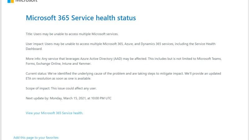 Help?! Office 365 = Down! Microsoft 365 Service Health Status