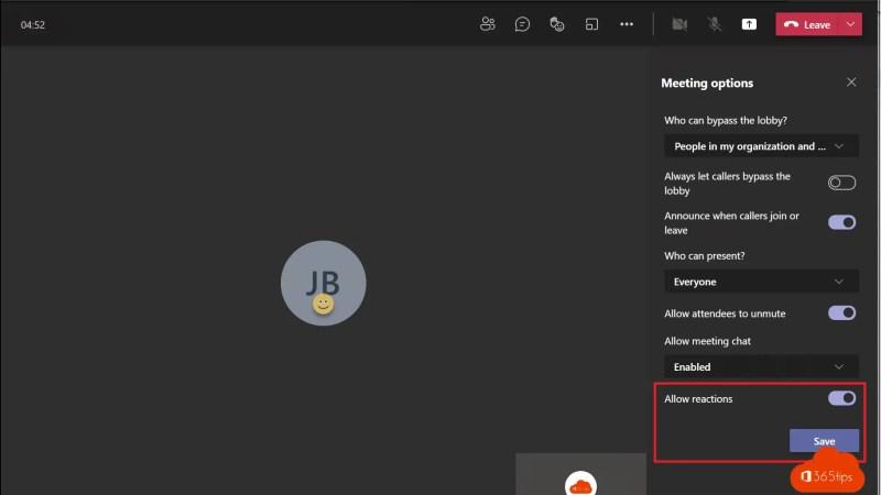Hoe in een Microsoft Teams meeting reacties in- en uitschakelen?