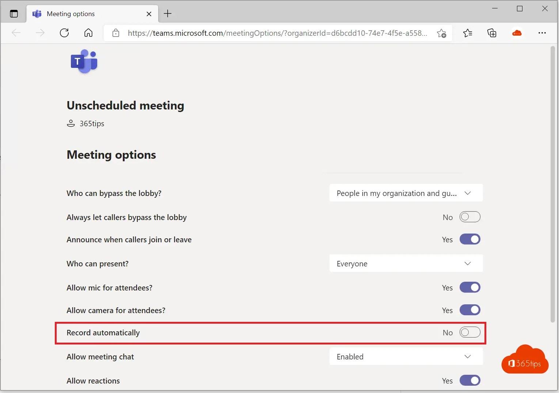Hoe kan je elke Microsoft-Teams vergadering automatisch opnemen?