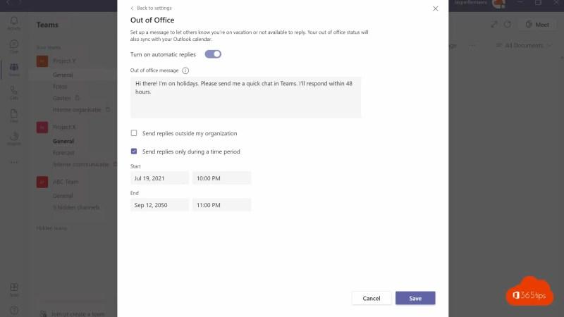 Statusopties | Afwezigheidsbericht instellen in Microsoft Teams