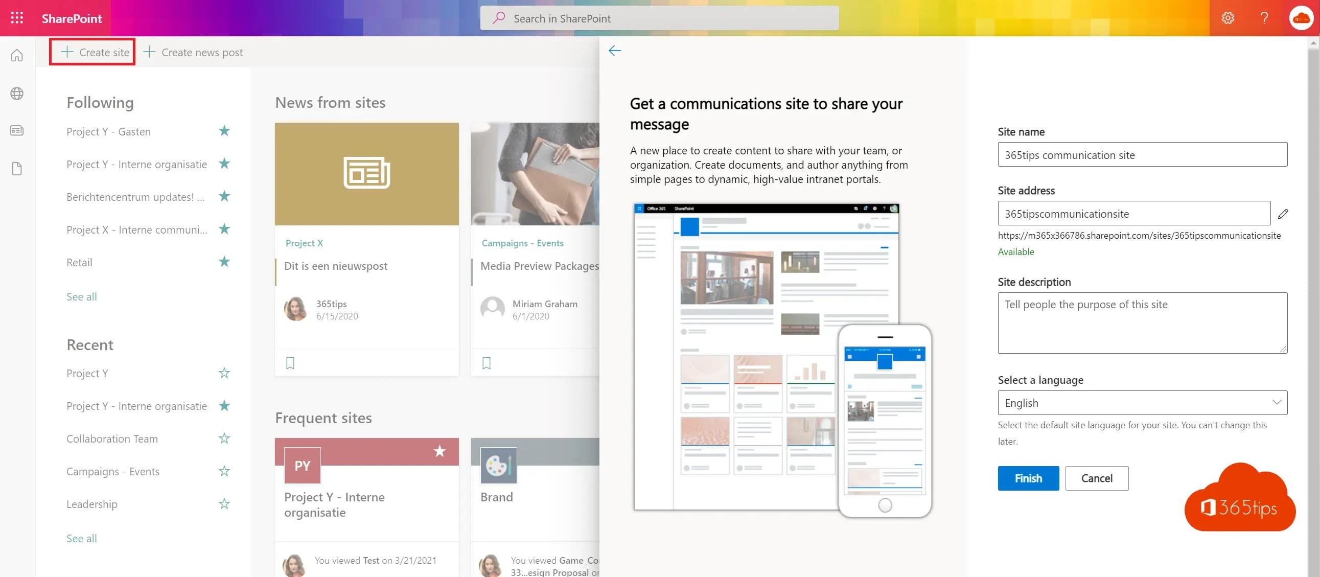 Handleiding: Hoe maak je een communicatiesite in SharePoint Online?