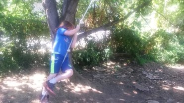 I think this was his second turn on the rope swing.