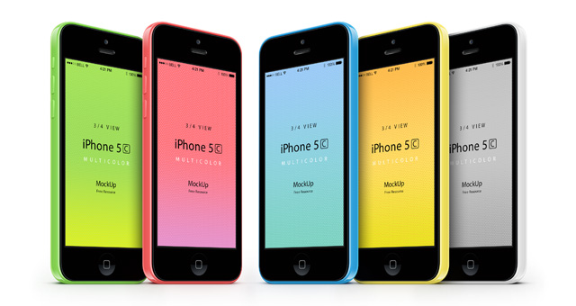 3-4 iPhone 5C Psd Vector Mockup