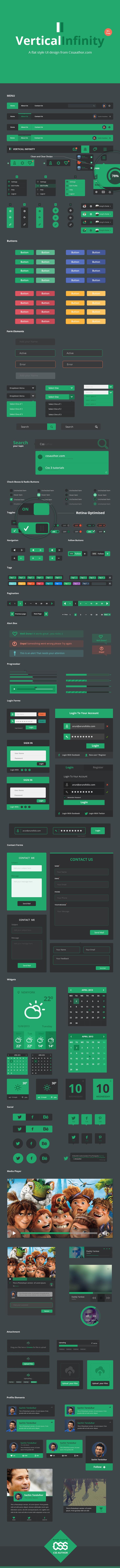 A Mega Flat Style UI Kit PSD