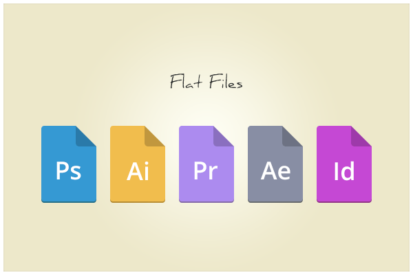 Flat Adobe File Type Icons PSD