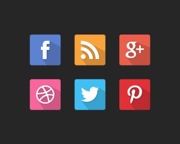 Free Flat Longshadow Social Media Icons