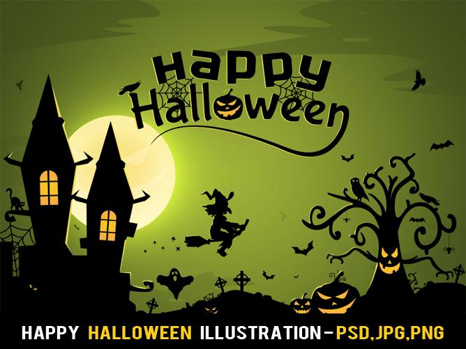 Happy Halloween Illustration Free PSD