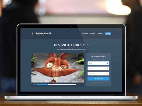 Lead Magnet - Free Landing Page PSD Template