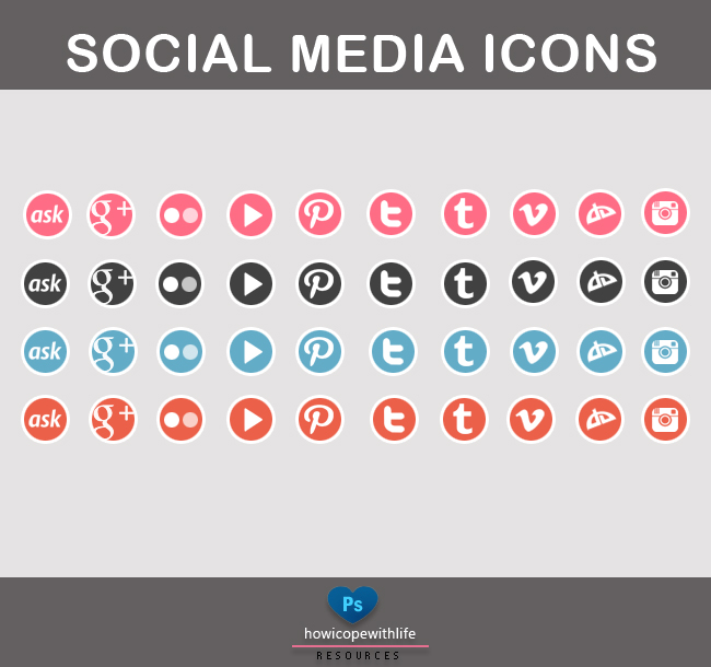 Social media icons (psd+png)