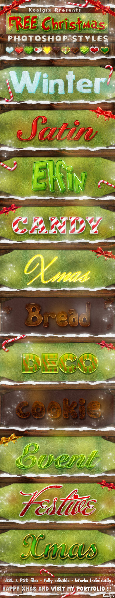 FREE Christmas Photoshop Styles - Text Effects