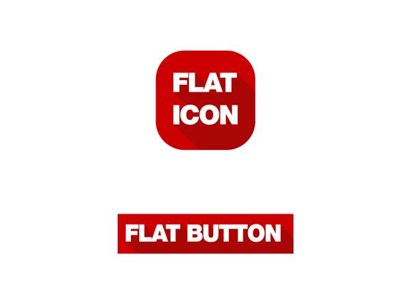 Flat design vector icon + text button