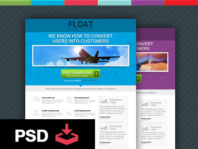 Free PSD - Float Landing Page