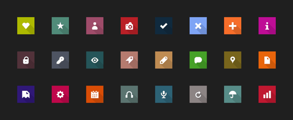 Metro icons with Long Shadow — FREE PSD