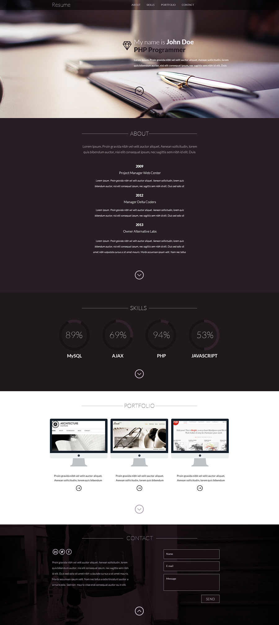 Resume – one page design