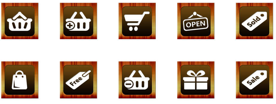 Wooden Shopping Icons