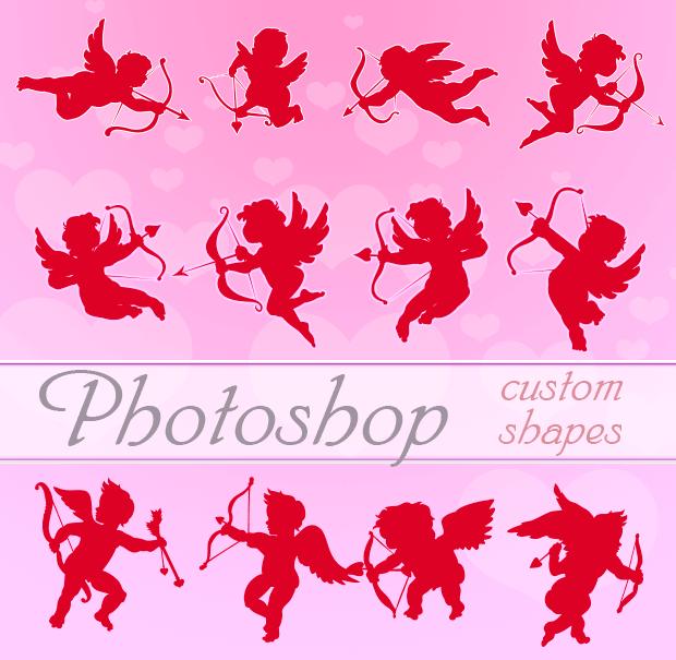 Valentine Cupids Photoshop Custom Shapes