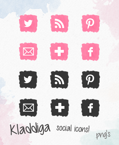 Watercolor icons pink & black