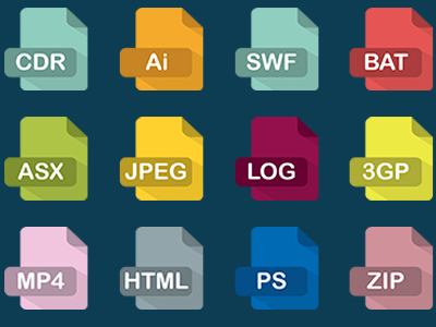 50 Long Shadow File Type Icons