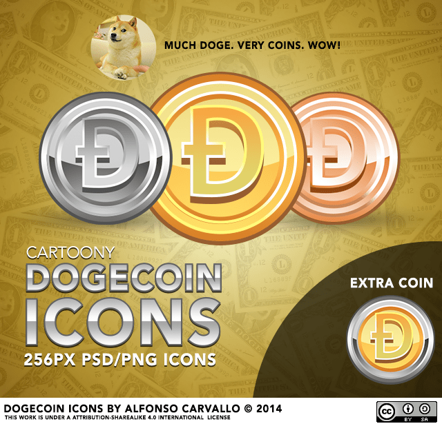 Cartoony Dogecoin Icons