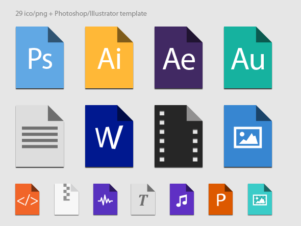 Flat file types in color