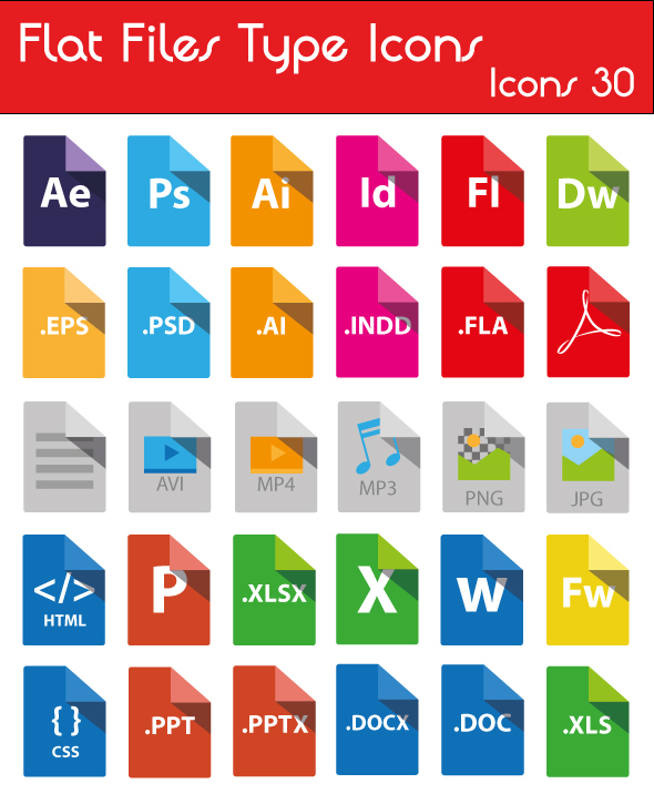 10 flat filedocument type icon sets for free download