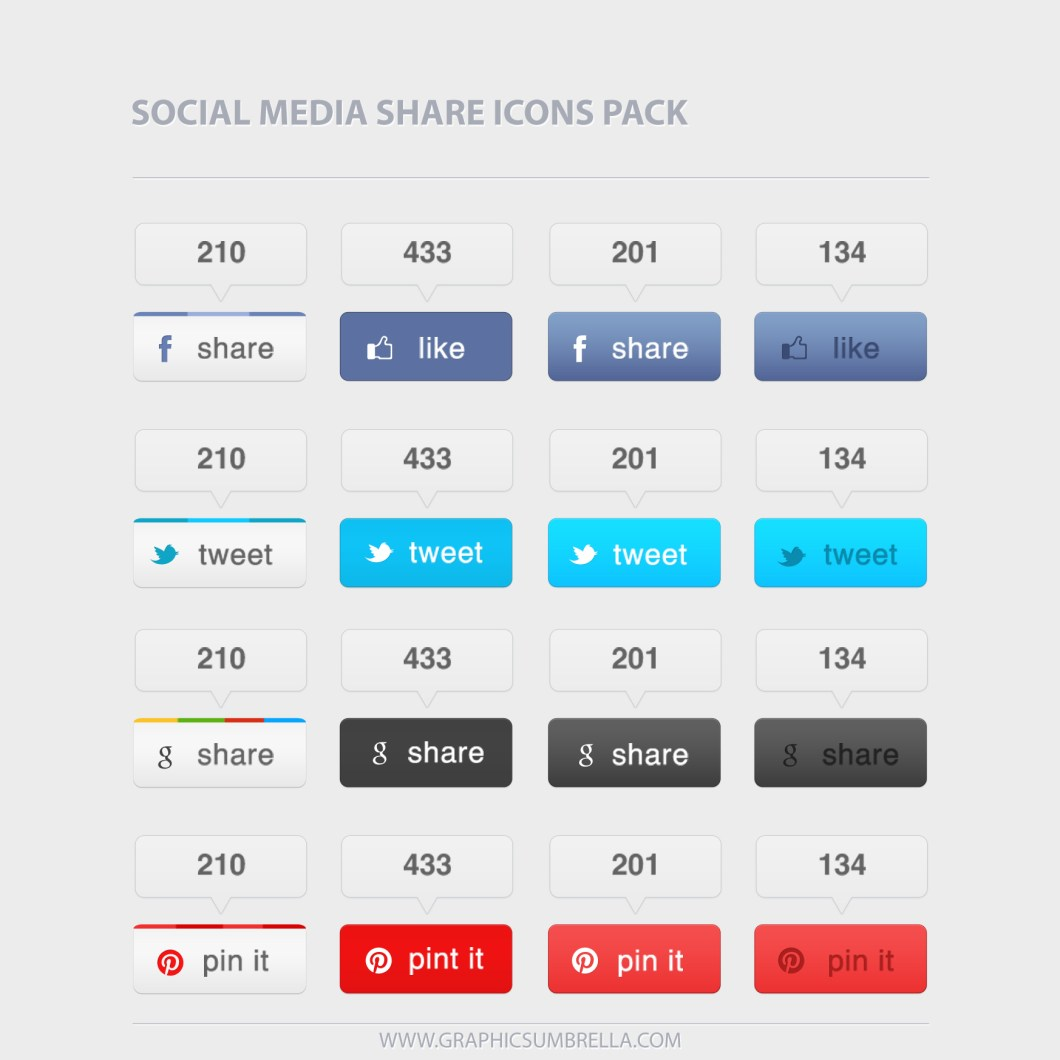 Social Media Sharing PSD Buttons and Icons